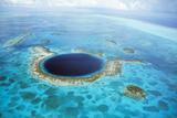 Belize Aerial of Belize Blue Hole Fotografisk tryk