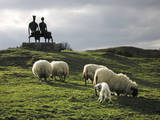 Sheep Grazing before the Henry Moore Sculpture Photographic Print