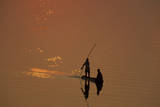 Zambia Fishermen at Sunset on the Luangwa River Photographic Print