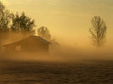 Hut and Mist at Sunrise with Ground Fog Photographic Print