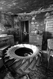 Old Tractor Tyre in a Derelict Kitchen Photographic Print by Rip Smith