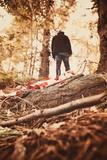 Man Standing in Woods Photographic Print by Steve Allsopp