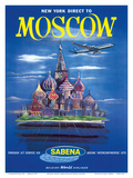 New York Direct to, Moscow, Russia, Sabena Belgian World Airlines Art