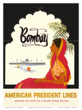 Bombay Mumbai India, Indian Woman in Red Sari, American President Lines Posters
