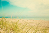 Sandy Beach with Grass by the Ocean Photographic Print by Elizabeth Urqhurt