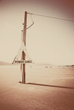 Electricity Cable on Beach Photographic Print by Steve Allsopp
