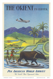 The Orient by Clipper, Boeing Stratocruiser flies over Asian Rice Paddy, Pan American World Airways Prints by Charles Baskerville