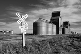 Railroad with Large Grain Stores Photographic Print by Rip Smith