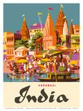 Varanasi India, Ganges River, (Banares, Banaras, Kashi) in Uttar Pradesh, Manikarnika Burning Ghat Plakaty autor Charles Baskerville