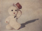 Snowman Walking by Jennifer Kennard Photographic Print by Jennifer Kennard