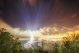 Oakland Bay Bridge Light Beams Photographic Print by Vincent James