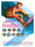 Surf Hawaii, Go Where the Big Ones Are, Haleiwa, Ala Moana, Waimea Pôsteres por  Otero