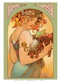 Fruit, Art Nouveau, La Belle Époque Kunst af Alphonse Mucha