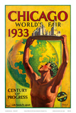 Chicago World's Fair 1933, Century of Progress, Santa Fe Railroad Posters av Hernando Villa