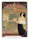 Teatro Regio, Torino, Italy, Art Nouveau, La Belle Époque Print by E. Bigliardi