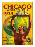 Chicago World's Fair 1933, Century of Progress, Santa Fe Railroad Art by Hernando Villa
