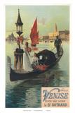 Venise par Saint Gothard, Venice, Italy, Gondolas Gondolieri, Art Nouveau, La Belle Époque Prints by Hugo D'Alesi