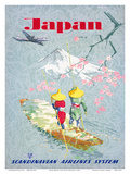 Japan, Cherry Tree Blossoms, Mount Fuji, SAS Scandinavian Airlines System Prints by  Netzler