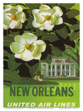 New Orleans, USA, Magnolia Blossoms, Louisiana State Flower, United Air Lines Posters by Stan Galli