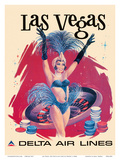 Las Vegas, USA, Vegas Show Girl, Delta Air Lines Art by  Sweney