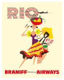 Rio de Janeiro, Brazil, Brazilian Drummer and Dancer with Castanets, Braniff International Airways Lámina giclée