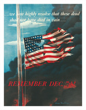 Remember December 7th!, In Remembrance of the Japanese Attack on Pearl Harbor, Honolulu, Hawaii Stampa giclée di Allen Saalburg