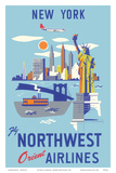 New York, USA, Manhattan, Fly Northwest Orient Airlines Posters