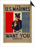 The U.S. Marines Want You, circa 1917 Poster by Charles Buckles Falls