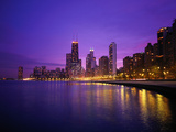 Usa, Illinois, Chicago Skyline and Lake Michigan, Night Photographic Print by Robert Glusic