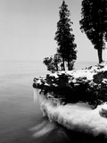 Usa, Wisconsin, Lake Michigan, Shore Scenic, Winter (B&W) Photographic Print by Alex L. Fradkin
