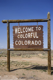 Colorado State Road Sign with Blue Sky, USA Photographic Print by David Davis