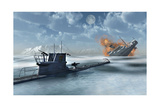 A German U-Boat Attacking and Sinking a Ship Art