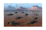 A Herd of Dead Centrosaurus Dinosaurs Killed by a Flash Flood Poster