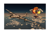 B-29 Superfortress Flying Away from the Explosion of the Atomic Bomb Posters