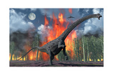 A Diplodocus Sauropod Dinosaur Fleeing from a Forest Fire Prints