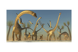 Herd of Diplodocus Dinosaurs Art