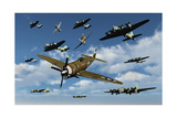 P-47 Thunderbolts Escorting B-17 Flying Fortress Bombers Posters