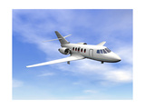 Private Jet Plane Flying in Cloudy Blue Sky Poster