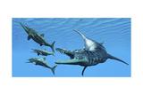 Liopleurodon Reptile Hunting Ichthyosaurus Dinosaurs in Jurassic Seas Poster