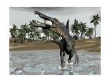 Spinosaurus Dinosaur Walking in Water and Feeding on Fish Art