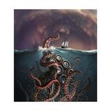 A Fantastical Depiction of the Legendary Kraken - Reprodüksiyon