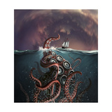 A Fantastical Depiction of the Legendary Kraken Stampa giclée premium