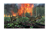 Cryolophosaurus Dinosaurs Fleeing from a Deadly Forest Fire Poster