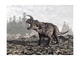 Einiosaurus Dinosaur Roaring in Nature Prints