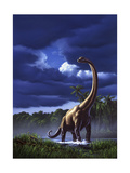 A Startled Brachiosaurus Splashes Through a Swamp Against a Stormy Sky - Poster
