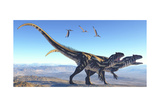 Two Allosaurus Dinosaurs Look for Prey on a High Mountain Posters
