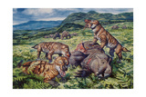 A Group of Carnivorous Cynognathus Prey on a Placerias Dicynodont Posters