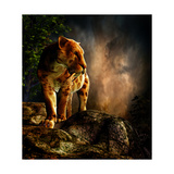Sabre-Toothed Cat on the Prowl Premium Giclee Print