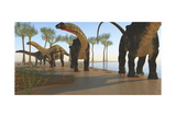 A Herd of Apatosaurus Dinosaurs Prints