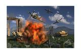 P-47 Thunderbolts Attacking German Jagdpanther Tanks During World War Ii Prints